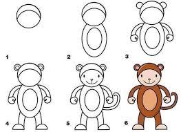 عکس, کشیدن میمون در شش مرحله برای دبستانی ها