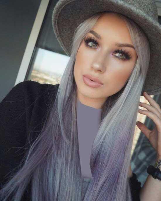 عکس, آموزش رنگ کردن موها آمبره ترکیبی دودی ارغوانی
