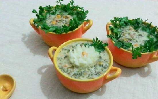 عکس, آموزش یک سوپ خوشمزه با ذرت و قارچ