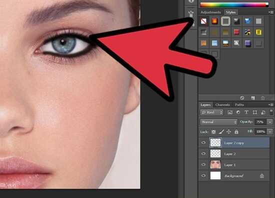 عکس, آموزش عکس به عکس کشیدن خط چشم در عکس با فتوشاپ