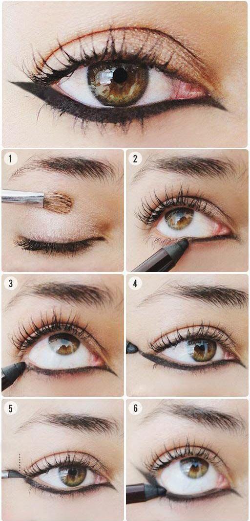 عکس, آموزش تصویری کشیدن مداد پهن زیر چشم